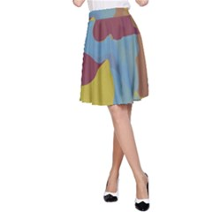 Watercolors A Line Skirt