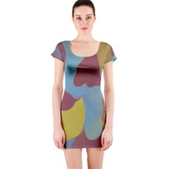 Watercolors Short Sleeve Bodycon Dress