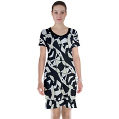 Black and White Print Short Sleeve Nightdress