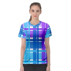 Blue & Purple Gingham Plaid Women s Sport Mesh Tee