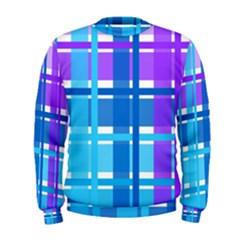 Blue & Purple Gingham Plaid Men s Sweatshirt