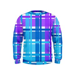 Blue & Purple Gingham Plaid Kids Sweatshirts