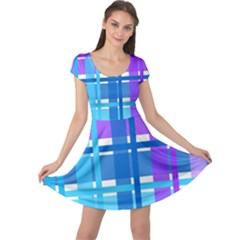 Blue & Purple Gingham Plaid Cap Sleeve Dress