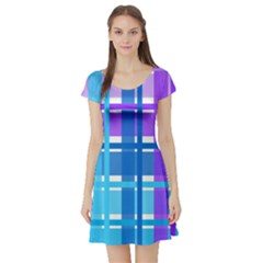 Blue & Purple Gingham Plaid Short Sleeve Skater Dress