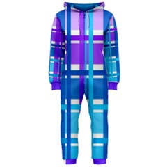Blue & Purple Gingham Plaid Hooded OnePiece Jumpsuit (Ladies)