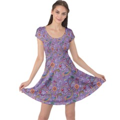 Purple Paisley Cap Sleeve Dress