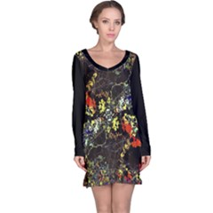 Floral Collage Print Long Sleeve Nightdress