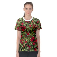 Floral Collage Print Women s Sport Mesh Tee
