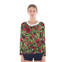 Floral Collage Print Women s Long Sleeve T Shirt