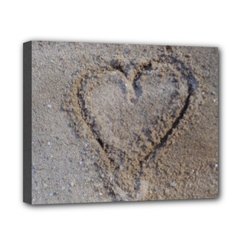 Heart In The Sand Canvas 10  X 8  (framed)