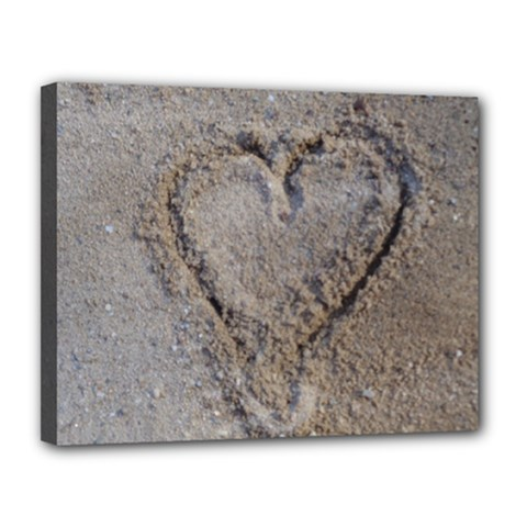 Heart in the sand Canvas 14  x 11  (Framed)