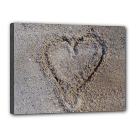 Heart in the sand Canvas 16  x 12  (Framed)