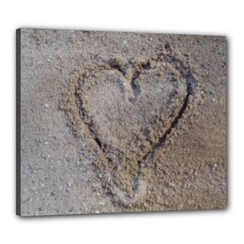 Heart in the sand Canvas 24  x 20  (Framed)