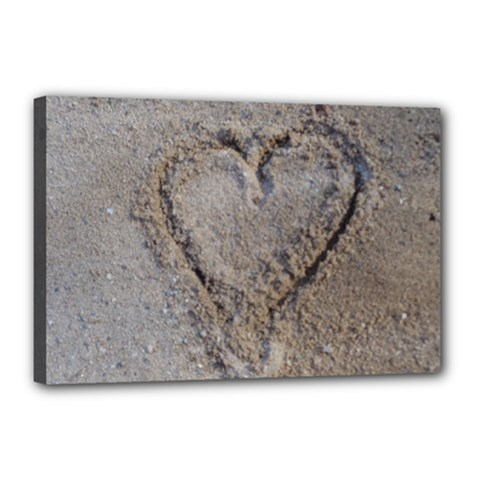 Heart In The Sand Canvas 18  X 12  (framed)