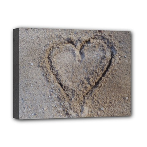 Heart in the sand Deluxe Canvas 16  x 12  (Framed)