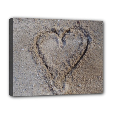 Heart in the sand Deluxe Canvas 20  x 16  (Framed)