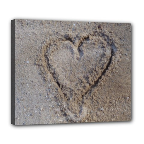 Heart in the sand Deluxe Canvas 24  x 20  (Framed)
