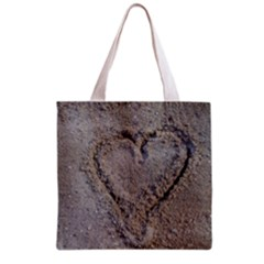 Heart in the sand Grocery Tote Bag