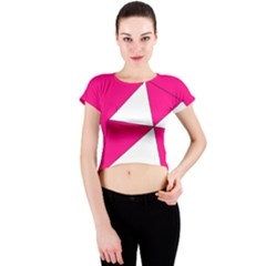 Pink White Art Kids 7000 Crew Neck Crop Top