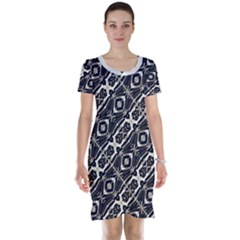 Retro Decorative Pattern Short Sleeve Nightdress
