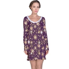 Abstract Pattern Print Long Sleeve Nightdress