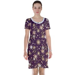 Abstract Pattern Print Short Sleeve Nightdress