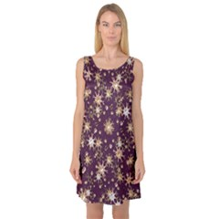 Abstract Pattern Print Sleeveless Satin Nightdress