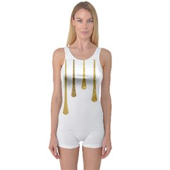 Gold Glitter Paint Women s Boyleg One Piece Swimsuit