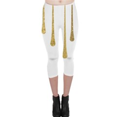 Gold Glitter Paint Capri Leggings