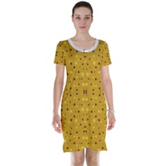 Colorful Abstract Pattern Short Sleeve Nightdress