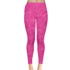 Abstract Stars In Hot Pink Leggings