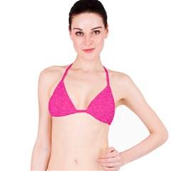 Abstract Stars In Hot Pink Bikini Top