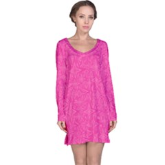 Abstract Stars In Hot Pink Long Sleeve Nightdress