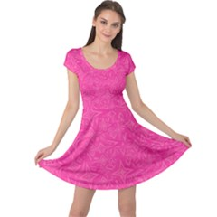 Abstract Stars In Hot Pink Cap Sleeve Dress