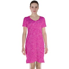 Abstract Stars In Hot Pink Short Sleeve Nightdress