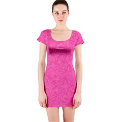 Abstract Stars In Hot Pink Short Sleeve Bodycon Dress