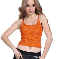 Orange Abstract 45s Women s Spaghetti Strap Bra Top