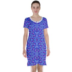 Decorative Ornate Print Short Sleeve Nightdress