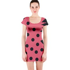 Monster Bird Red Short Sleeve Bodycon Dress