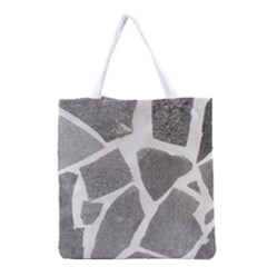 Grey White Tiles Pattern Grocery Tote Bag