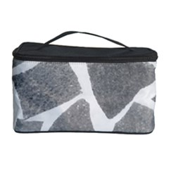 Grey White Tiles Pattern Cosmetic Storage Case
