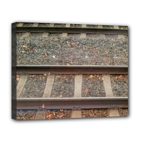 Railway Track Train Deluxe Canvas 20  X 16  (framed)