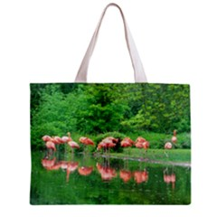 Flamingo Birds at lake Tiny Tote Bag