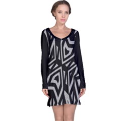 Geometric Tribal Print Long Sleeve Nightdress