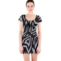 Geometric Tribal Print Short Sleeve Bodycon Dress
