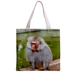 Grey Monkey Macaque Grocery Tote Bag