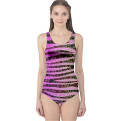 Hot Pink Black Tiger Pattern  Women s One Piece Swimsuit