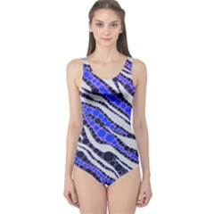 Blue Zebra Bling  Women s One Piece Swimsuit