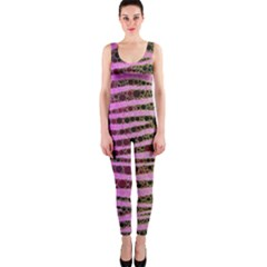 Hot Pink Black Tiger Pattern  OnePiece Catsuit