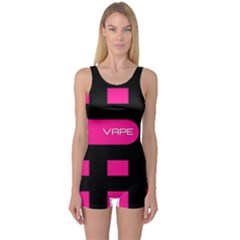 Hot Pink Black Vape  Women s Boyleg One Piece Swimsuit